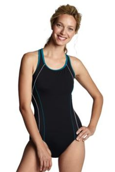 1c0388a22412  49.97 Women s AquaFitness Butterfly Scoop Control Splice One Piece Swimsuit  from Lands  End Lands End
