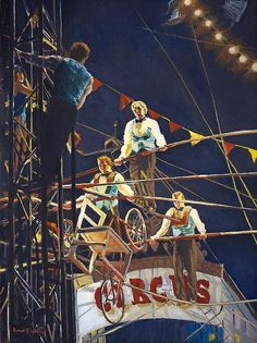 Figurative Painting - The Flying Wallendas - Oil Painting