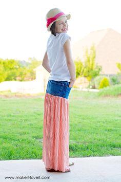 Převeďte staré džíny do sukně Maxi |  Přes Make It and Love It