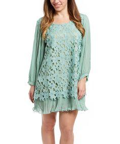 Look at this #zulilyfind! Aqua Floral Layered Linen-Blend Dress #zulilyfinds