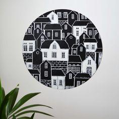 """Acrylic painting by Hammi´s Design  """"In the City""""  #city #kaupunki #talot #houses #mustavalko #bnw #maalaus #taide #art #skandinaavinensisustus #hammisdesign"""