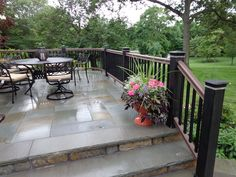 Elegant Concrete Patio Railing Ideas Combining A Deck Railing With A Bluestone Patio And Stairs Metal Patio Furniture, Patio Makeover, Patio Design, Brick Patios, Backyard Landscaping Designs, Concrete Porch, Patio Stairs, Patio Fireplace