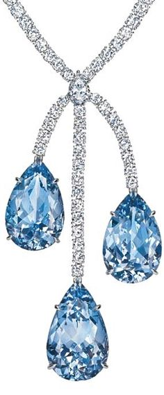 Harry Winston's Aquamarine & Diamond Drop Necklace