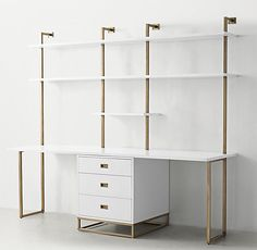 RH TEEN's Avalon Double Desk Study Wall With Drawers:The sleek lines of our collection capture the sophisticated restraint of modernism, while its polished cast-metal fittings – including recessed pulls and a metal base – take it in a new direction.