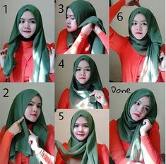 Gorgeous Hijab Style For Round Face Shape Does your face have a round shape ? this is the best hijab style to wear to look more beautiful in hijab. It's easy and can be created in few steps, That I will write below. Stylish Hijab, Modest Fashion Hijab, Hijab Chic, Muslim Fashion, Hijab Simple, Simple Hijab Tutorial, Hijab Style Tutorial, Turban Hijab, Hijab Wedding Dresses
