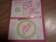 Baby girl card - stickers & ribbon