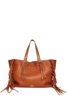 Fringed Leather Tote by Valentino - Moda Operandi