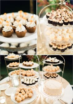 cupcake bar - I love the simple single cake for the cake cutting. Old style of cakes is back in style!