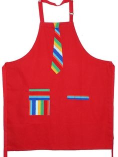I bought a red apron from Goodwill and made a necktie from scrap material. It was a Christmas present for my almost three year old grandson. Sewing Hacks, Sewing Crafts, Sewing Projects, Sewing Aprons, Sewing Clothes, Red Apron, Childrens Aprons, Scrap Material, Aprons For Men