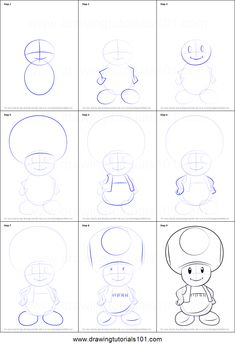 How to Draw Toad from Super Mario printable step by step drawing sheet : Drawing. How to Draw Toad from Super Mario printable step by step drawing sheet : Drawing Cartoon Characters, Character Drawing, Cartoon Drawings, Animal Drawings, Easy Sketches, Drawing Sheet, Painting & Drawing, Doodle Drawings, Easy Drawings