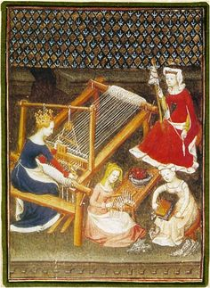 This illustration is from Concerning Famous Women, a book by Boccacio written in 1402 and now in the Bibliotheque Nationale in Paris. Look closely and you can see all stages of weaving going on - carding, spinning, weaving. And from the clothing the women are wearing, I can see that the queen is working alongside her lady-in-waiting as well as women who are dressed in the manner of servants.