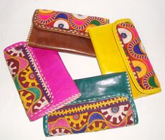 EMBROIDERY LEATHER PURSES Women Wallet Ladies by BONJOURstore