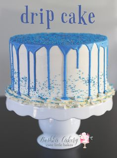 Our drip cakes can be made any color and any flavor!  This blue drip cake is vanilla with vanilla swiss meringue buttercream and white chocolate drip.