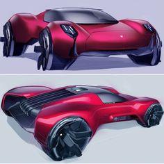 Driven- the last Car. Porsche Supersport E-UV; Car Design Sketch, Car Sketch, Ferdinand Porsche, Cyberpunk, Design Autos, Porsche Design, Transportation Design, Future Car, Mobile Design