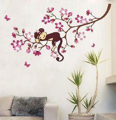 Cool schlafen Affe auf rosa blume baum wandtattoo f r kinder Schlafzimmer baby Kindergarten versandkostenfrei in von auf