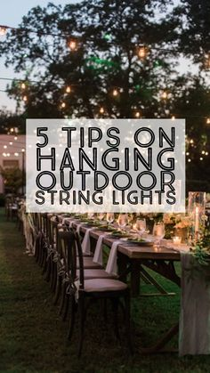 A perfect guide for everything you need to know to hang patio lights! Hang patio string lights in your backyard for parties or as outdoor wedding lights! Outdoor Party Lighting, Outdoor Hanging Lights, Backyard Lighting, Outdoor Light Fixtures, Lighting Ideas, Event Lighting, Outdoor Decor, Hanging Lanterns, Rustic Outdoor
