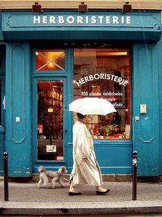 blue storefront in paris, poodle