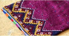 These embroidered pouches were hand crafted in Kutch. The delightful patterns and colors were adapted from age old motifs used in regional embroidery of Kutch. Hand Embroidery Flowers, Embroidery Works, Indian Embroidery, Embroidery Fashion, Modern Embroidery, Hand Embroidery Designs, Embroidery Stitches, Arabian Mehndi Design, Mirror Work Dress