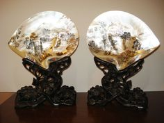 Pair of Antique Chinese Painted Mother of Pearl Shells on Carved Wood Stands Sold on Ebay 1693US$ (sept 2015)