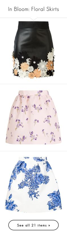 """In Bloom: Floral Skirts"" by polyvore-editorial ❤ liked on Polyvore featuring Floralskirts, INBLOOM, skirts, mini skirts, bottoms, saias, black, flower mini skirt, high-waist skirt and multi color skirt"