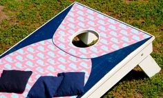 Vineyard Vines inspired cornhole? Sounds perf for a relaxing day on the beach!