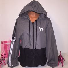 NEW PINK VS ANORAK WINDBREAKER LOGO HOODED PINK VICTORIA'S SECRET  ANORAK HOODIE FULL ZIP WITH DRAWSTRING AND LOGO ON THE SLEEVE AND A BIG LOGO IN THE BACK  COLOR GRAY/BLACK  SIZE M/L  FAST SHIPPING!!!    Check out my other items! The I am sure you will find something that you will love it! Thank you for watch!!!!!   Be sure to add me to your favorites list! PINK Victoria's Secret Jackets & Coats