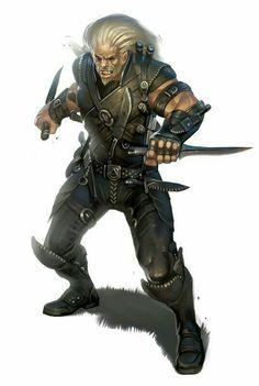 Male Half-Orc Rogue - Pathfinder PFRPG DND D&D d20 fantasy