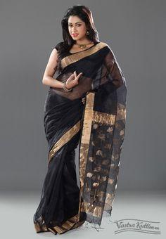 Black Silk Linen Saree with Copper Zari