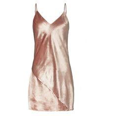 Fleur Du Mal Women's Platinum Rose Velvet Mini Slip Dress ($398) ❤ liked on Polyvore featuring dresses, rosette dress, bias cut slip dress, low v neck dress, slip dress and bias cut dress