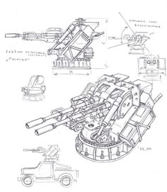 Chemreactive cannon turret by TugoDoomER on DeviantArt Robot Concept Art, Weapon Concept Art, Zoids, Anime Weapons, Mechanical Design, Military Weapons, War Machine, Dieselpunk, Cannon