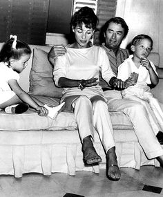 Gregory Peck with his second wife, Veronique, and their two children, Anthony and Cecilia, 1961