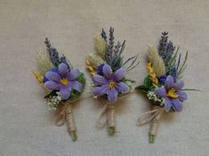 Spring rustic dried flowers boutonniere purple by FlowerDecoupage