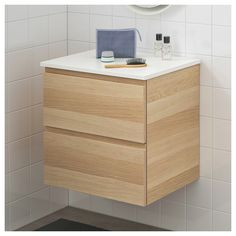 GODMORGON / TOLKEN Wash-stand with 2 drawers - white, white stained oak effect - IKEA Bathroom Sink Cabinets, Bathroom Wall, Wash Stand, White Stain, Wood Drawers, Vanity Cabinet, Floating Nightstand, Countertops, Solid Wood