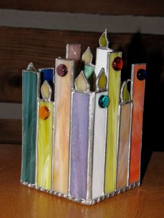 ٩๏̯͡๏۶ やすのりCandle stained glass candle holder Stained Glass Patterns Free, Stained Glass Designs, Stained Glass Projects, Stained Glass Lamps, Leaded Glass, Arte Judaica, Stained Glass Christmas, Glass Boxes, Glass Candle Holders