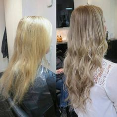 """Makeover magic using tape extensions. Johanna @rapunzelgoteborg created a new soft balayage color for her client, mixing extensions tone on tone for length and dimension. In this look we used: Quick & Easy European 50 cm/20"""" Cendre Ash Blond #14 Cendre Ash Blond Mix #14/60. Link to shop in bio! #rapunzelofsweden #balayage #beforeafter #beforeandafter"""