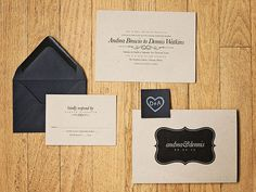 Black and kraft paper brown on the elegant and rustic invites... A Fun and Colorful Handmade Chicago Wedding