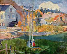 """Paul  Gauguin: O moinho de David em Pont-Aven.  Pont-Aven é designada """"a cidade dos pintores"""" pelos numerosos pintores que aí estiveram, incluindo Gauguin.  Pont-Aven  é uma comuna no departamento de Finistere na região da Bretanha na França.   As águas do rio penetram pelo meio de um caos de enormes rochedos antes de se encontrarem com o mar. Antigamente, essas águas animavam numerosos moinhos da pequena cidade"""