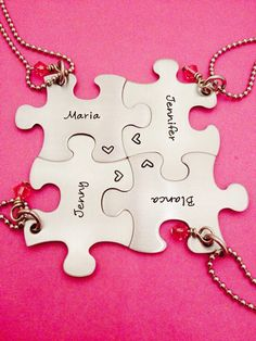 Personalized Puzzle Piece Necklace set of 4 w/ by One27Designs, $48.00 I want this for me and my besties!