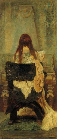 Hans Makart (1840-1884)  Dame am Spinett  Oil on canvas  1871. Peintre viennois. Il est réputé avoir influencé Klimt.