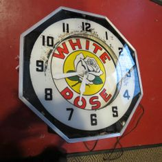 Rare Vintage White Rose Gas Clock Advertising Automotive Neon Works