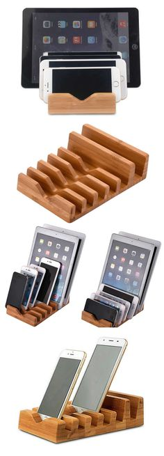 Bamboo Multi Device cell Phone Cords Organizer Stand Charging Station For iPhone Smart Phone Tablet, Cool Office Supplies, Usb Charging Station, Smartphone Holder, Cord Organization, Office Gifts, Cords, Bamboo, Iphone, Cool Stuff