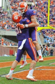 Clemson tight end Stanton Seckinger (81) celebrates his touchdown catch with wide receiver Adam Humphries (13) during their game against The Citadel, Saturday in Clemson. (Rainier Ehrhardt/AP)