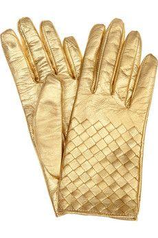Bottega Veneta Intrecciato Leather Gloves $380 #Metallics #Studs