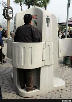 I'm bettin' men will keep a cleaner toilet area than if they are left in private ! Unique and Strange Toilets and Urinals ~ Cool Pictures Outdoor Toilet, Public Bathrooms, Portable Toilet, Toilet Design, Weird Pictures, Awkward, Inventions, Cool Stuff, Funny Stuff