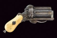peashooter85:  An ivory handled pinfire pepperbox revolver, mid 19th century.