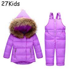 63532d15f Russia Winter Children Clothing Sets Snow Jackets Pant Set Baby Girls Duck  Down Coats Jacket Fur Hood Outwear Kids Snowsuit