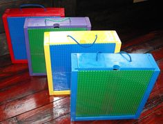 Perfect storage box for portable building block play. One side of the board is a 10 x 10 name brand base plate for building and the other is a dry