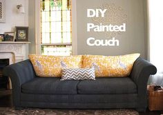 You won't believe what she used to paint her couch and how well it worked! Biblical Homemaking: how to paint furniture upholstery :: a DIY sofa makeover Diy Furniture Upholstery, Paint Upholstery, Paint Furniture, Furniture Projects, Diy Projects, Refurbished Furniture, Sofa Makeover, Furniture Makeover, Diy Sofa