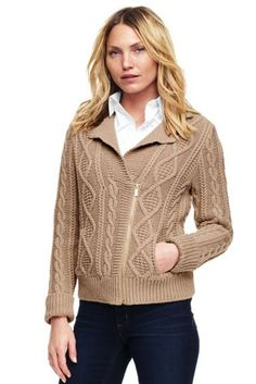 Women's+Cable+Moto+Sweater+Jacket+from+Lands'+End