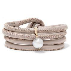Mizuki Convertible Leather Wrap Bracelet/Choker with Pearl Charm, Taupe
